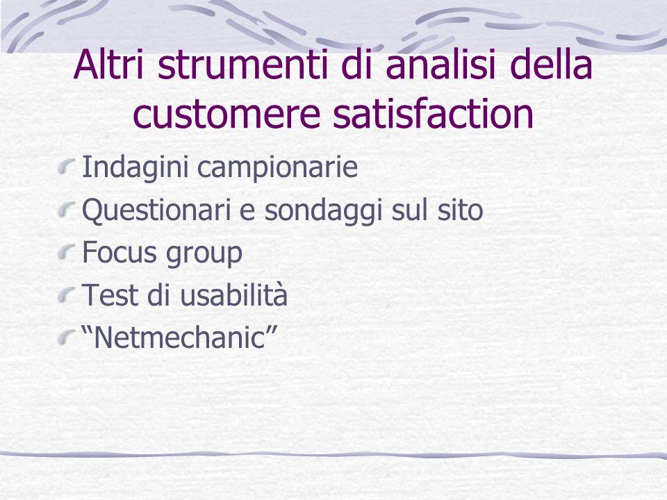 Altri strumenti di analisi della customere satisfaction Indagini campionarie Questionari e sondaggi sul sito Focus group Test di usabilità Netmechanic