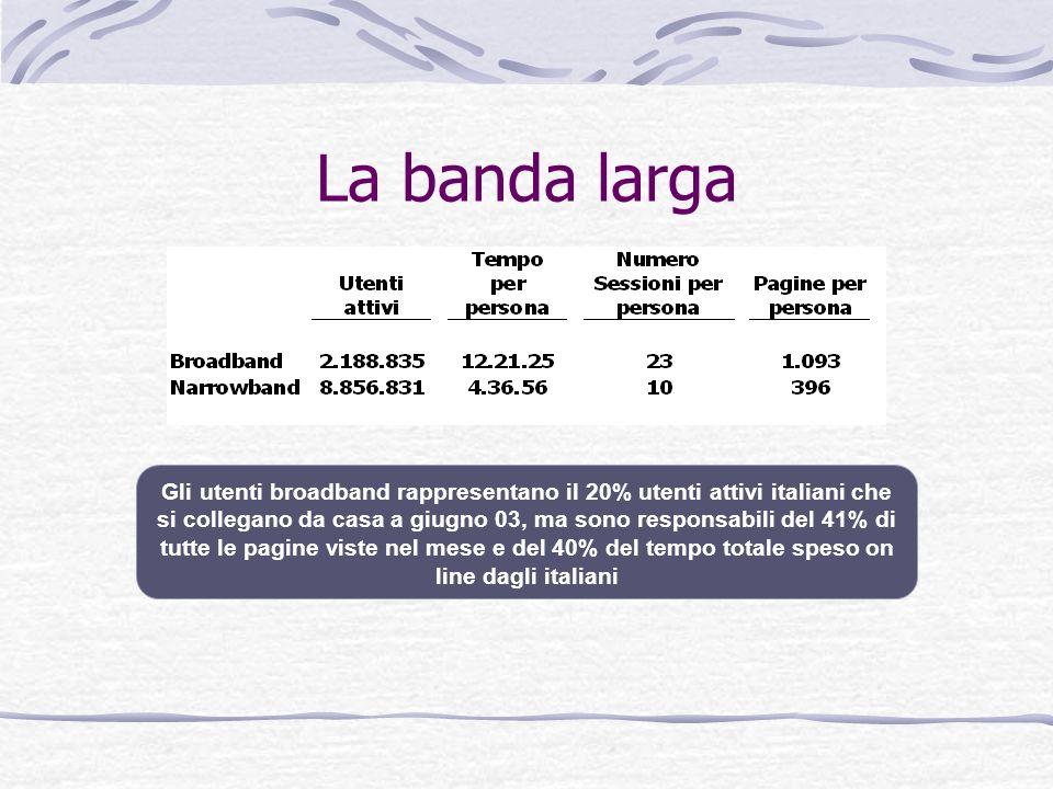 La banda larga Gli utenti broadband rappresentano il 20% utenti attivi italiani che si collegano da casa a giugno 03, ma sono responsabili del 41% di