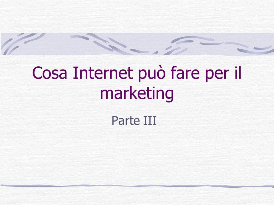 Cosa Internet può fare per il marketing Parte III