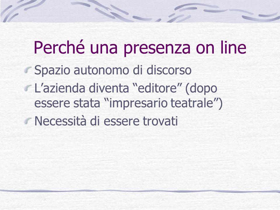 Perché una presenza on line Spazio autonomo di discorso Lazienda diventa editore (dopo essere stata impresario teatrale) Necessità di essere trovati