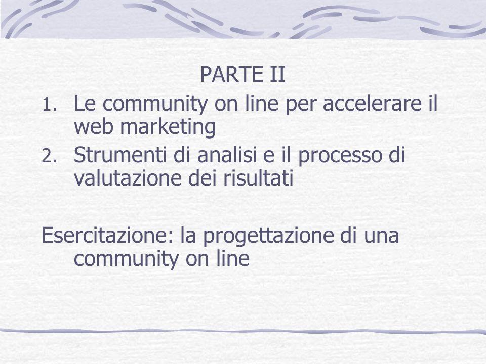 PARTE II 1. Le community on line per accelerare il web marketing 2. Strumenti di analisi e il processo di valutazione dei risultati Esercitazione: la