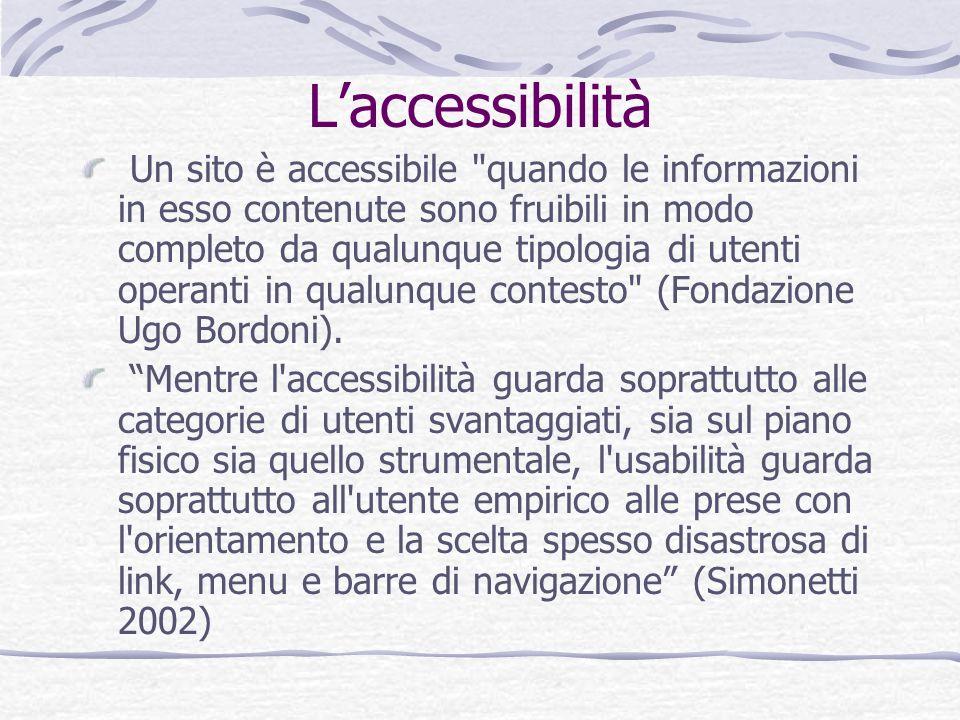 Laccessibilità Un sito è accessibile