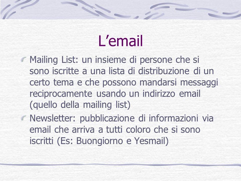 Lemail Mailing List: un insieme di persone che si sono iscritte a una lista di distribuzione di un certo tema e che possono mandarsi messaggi reciproc