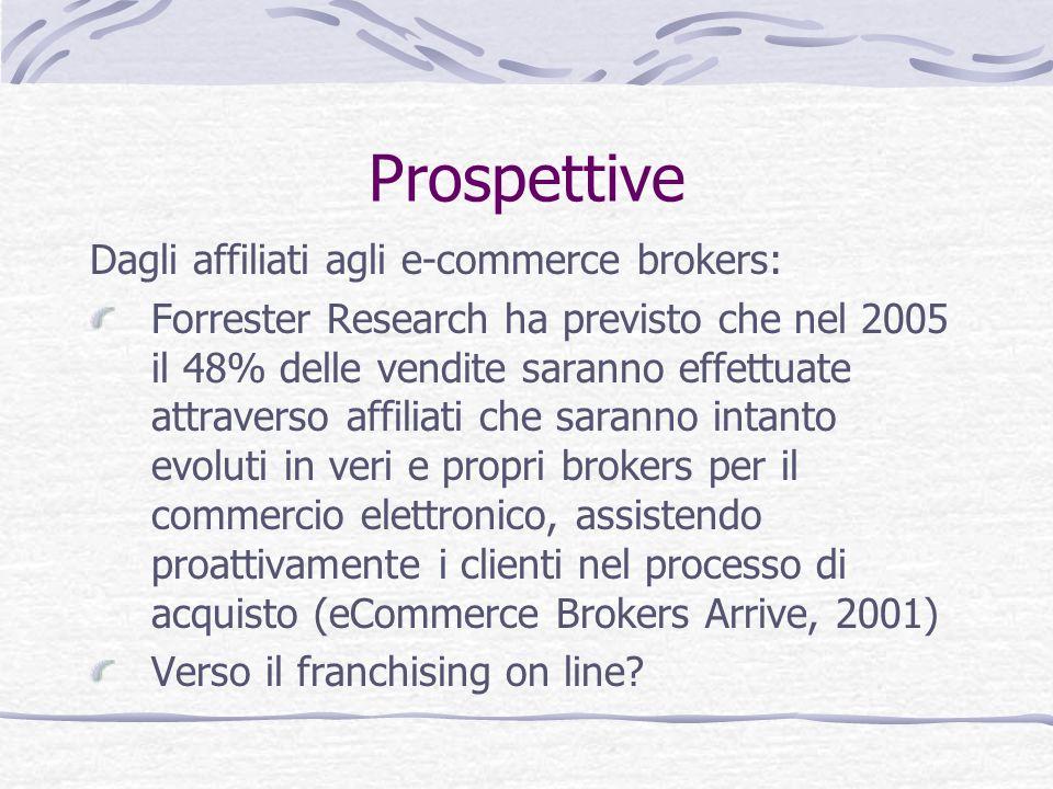 Prospettive Dagli affiliati agli e-commerce brokers: Forrester Research ha previsto che nel 2005 il 48% delle vendite saranno effettuate attraverso af