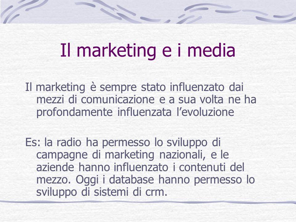 Il marketing e i media Il marketing è sempre stato influenzato dai mezzi di comunicazione e a sua volta ne ha profondamente influenzata levoluzione Es