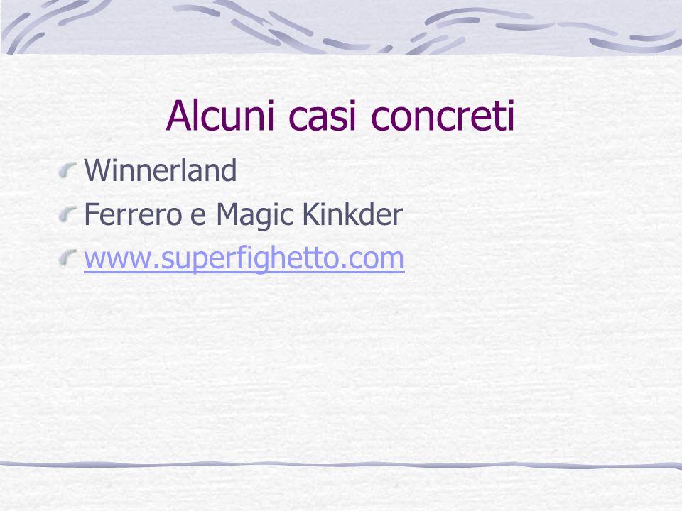 Alcuni casi concreti Winnerland Ferrero e Magic Kinkder www.superfighetto.com