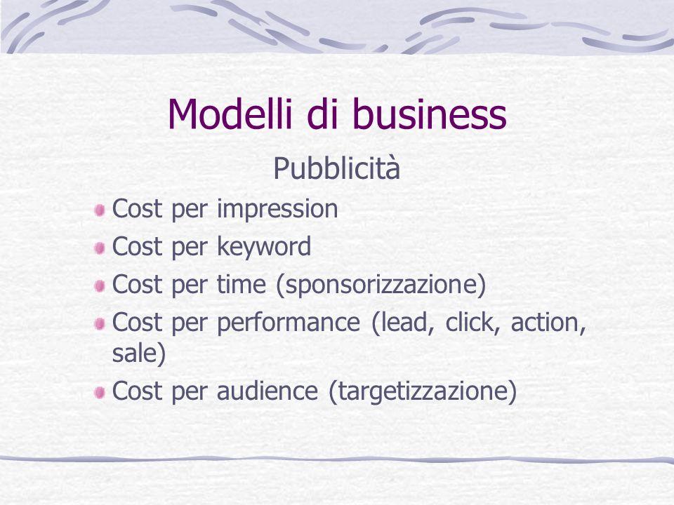 Modelli di business Pubblicità Cost per impression Cost per keyword Cost per time (sponsorizzazione) Cost per performance (lead, click, action, sale)