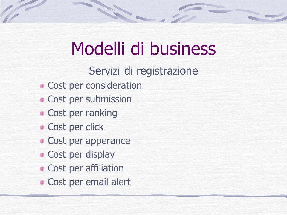 Modelli di business Servizi di registrazione Cost per consideration Cost per submission Cost per ranking Cost per click Cost per apperance Cost per di