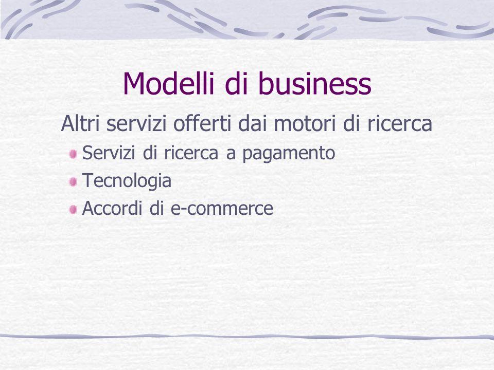 Modelli di business Altri servizi offerti dai motori di ricerca Servizi di ricerca a pagamento Tecnologia Accordi di e-commerce