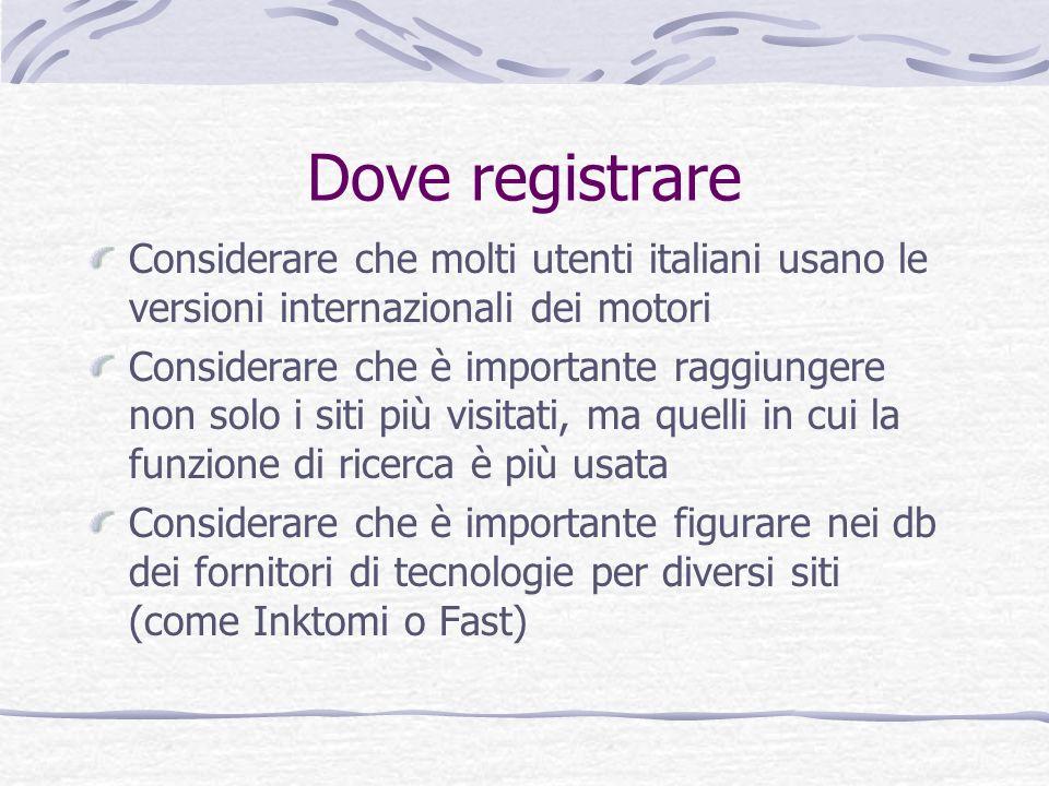 Dove registrare Considerare che molti utenti italiani usano le versioni internazionali dei motori Considerare che è importante raggiungere non solo i