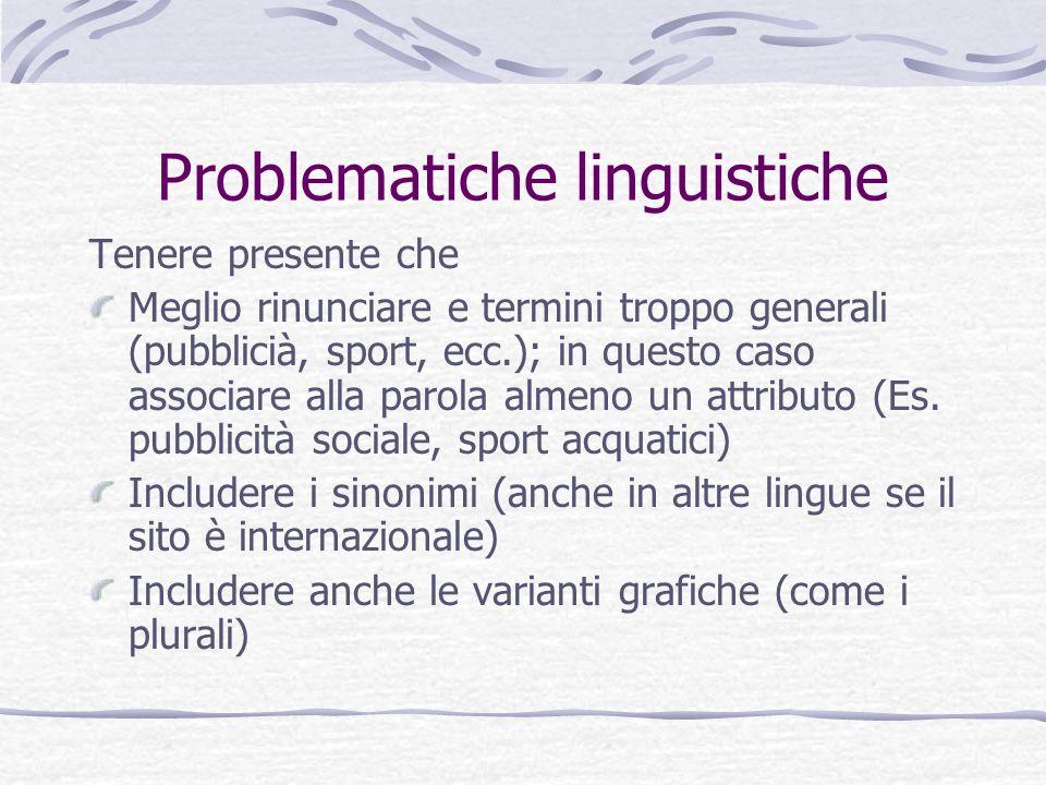 Problematiche linguistiche Tenere presente che Meglio rinunciare e termini troppo generali (pubblicià, sport, ecc.); in questo caso associare alla par