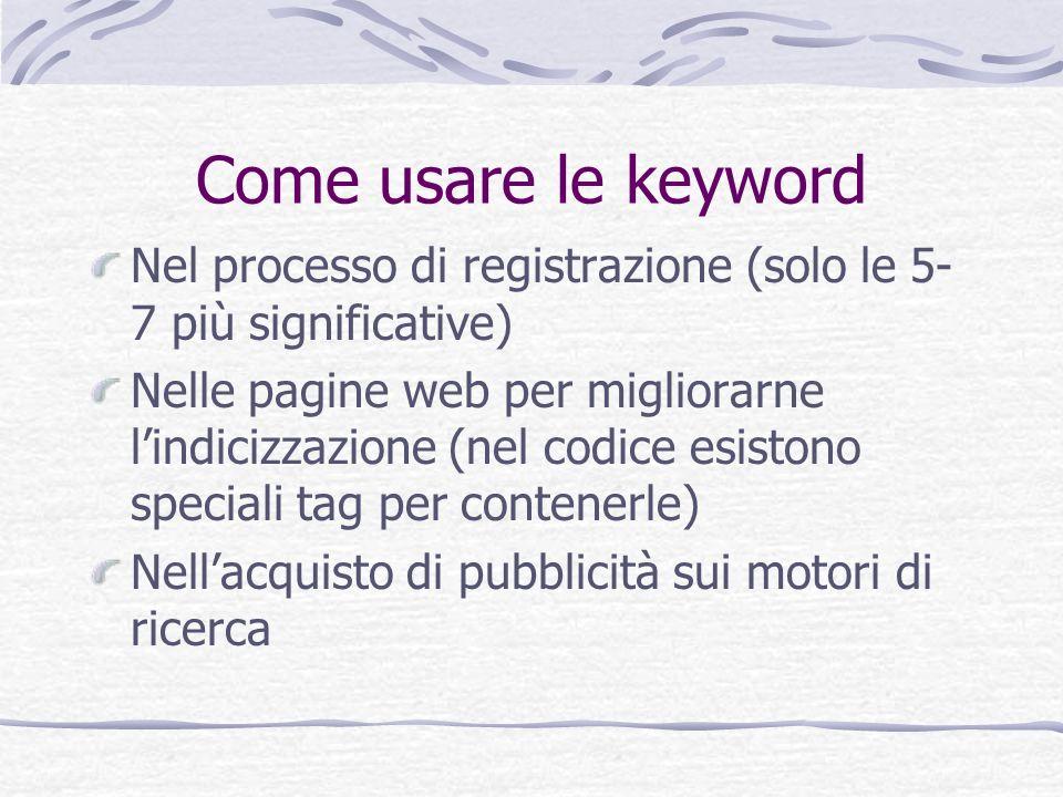 Come usare le keyword Nel processo di registrazione (solo le 5- 7 più significative) Nelle pagine web per migliorarne lindicizzazione (nel codice esis