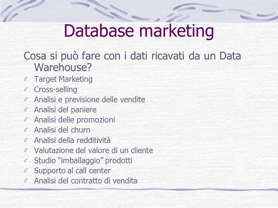 Database marketing Cosa si può fare con i dati ricavati da un Data Warehouse? Target Marketing Cross-selling Analisi e previsione delle vendite Analis