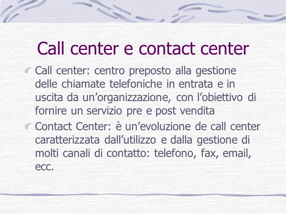 Call center e contact center Call center: centro preposto alla gestione delle chiamate telefoniche in entrata e in uscita da unorganizzazione, con lob