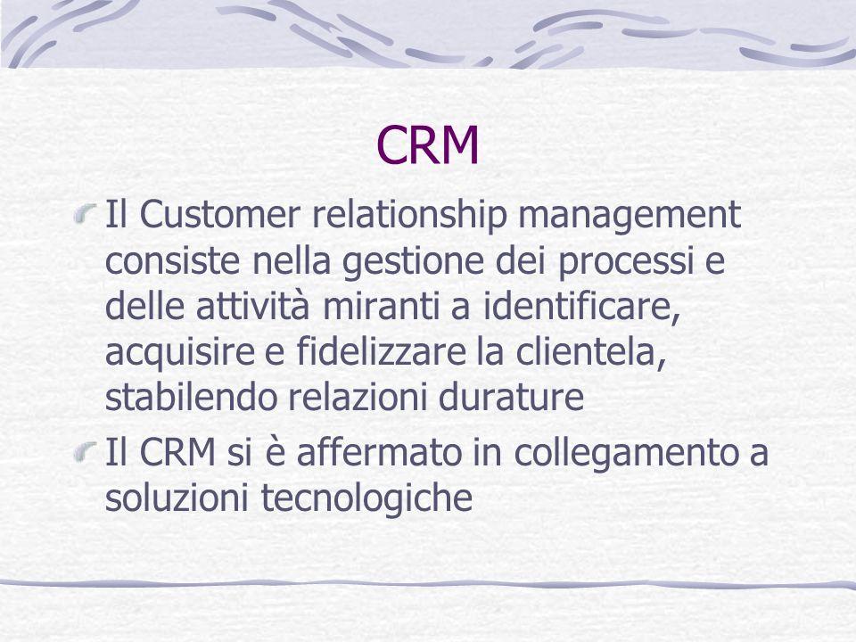 CRM Il Customer relationship management consiste nella gestione dei processi e delle attività miranti a identificare, acquisire e fidelizzare la clien