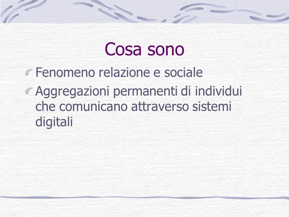 Cosa sono Fenomeno relazione e sociale Aggregazioni permanenti di individui che comunicano attraverso sistemi digitali