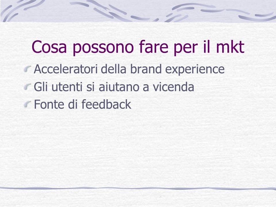 Cosa possono fare per il mkt Acceleratori della brand experience Gli utenti si aiutano a vicenda Fonte di feedback