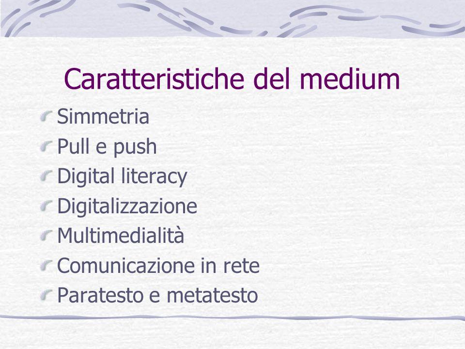 Caratteristiche del medium Simmetria Pull e push Digital literacy Digitalizzazione Multimedialità Comunicazione in rete Paratesto e metatesto