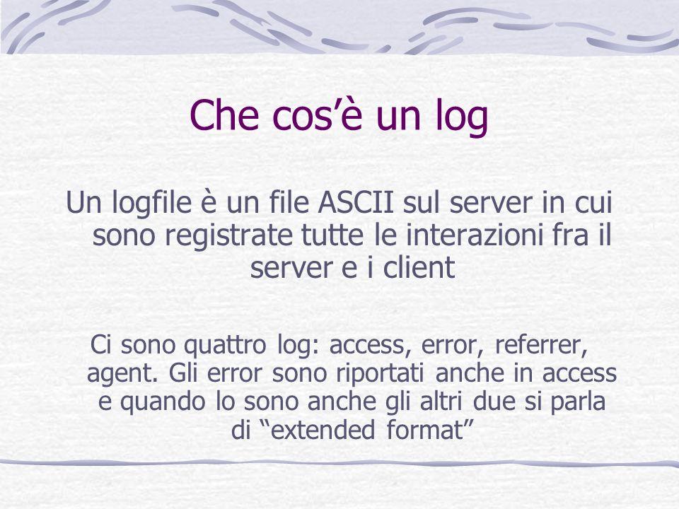 Che cosè un log Un logfile è un file ASCII sul server in cui sono registrate tutte le interazioni fra il server e i client Ci sono quattro log: access