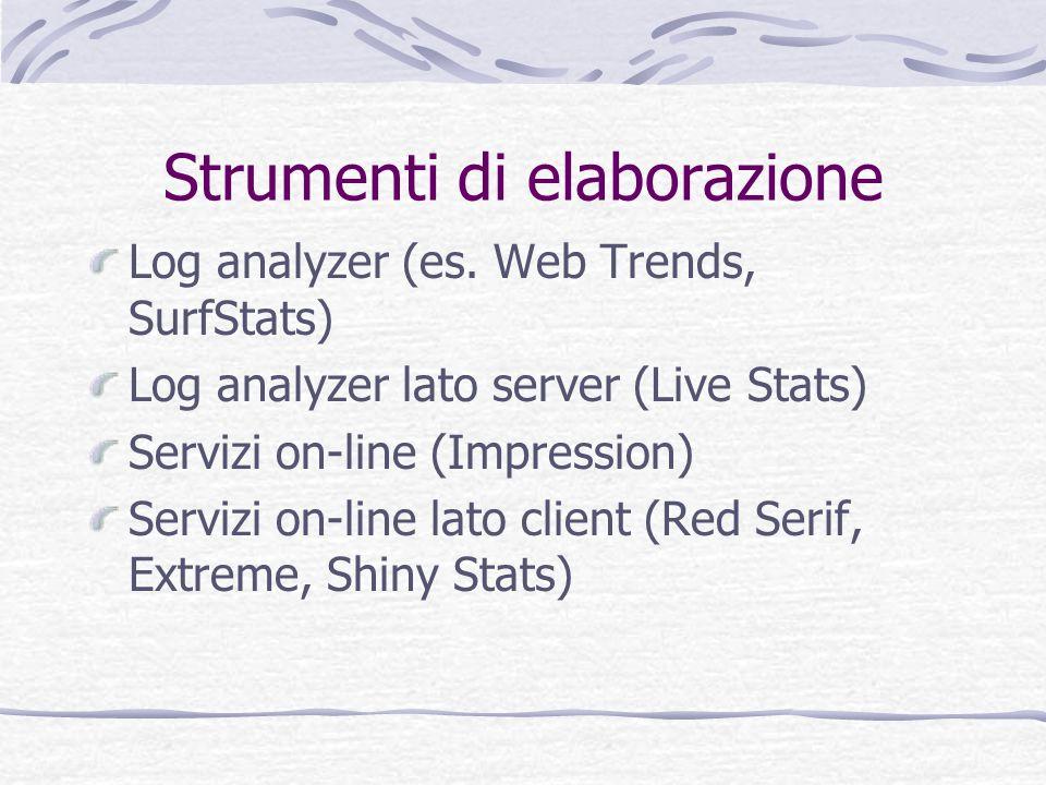 Strumenti di elaborazione Log analyzer (es. Web Trends, SurfStats) Log analyzer lato server (Live Stats) Servizi on-line (Impression) Servizi on-line