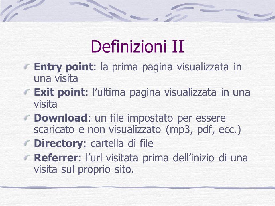 Definizioni II Entry point: la prima pagina visualizzata in una visita Exit point: lultima pagina visualizzata in una visita Download: un file imposta