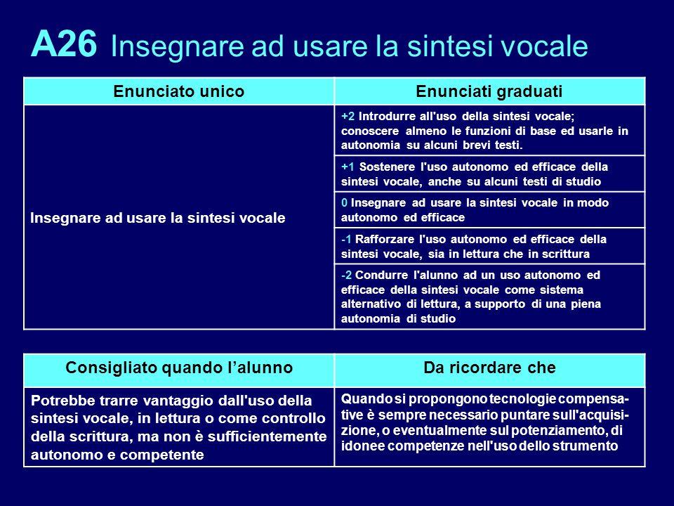 A26 Insegnare ad usare la sintesi vocale Enunciato unicoEnunciati graduati Insegnare ad usare la sintesi vocale +2 Introdurre all'uso della sintesi vo
