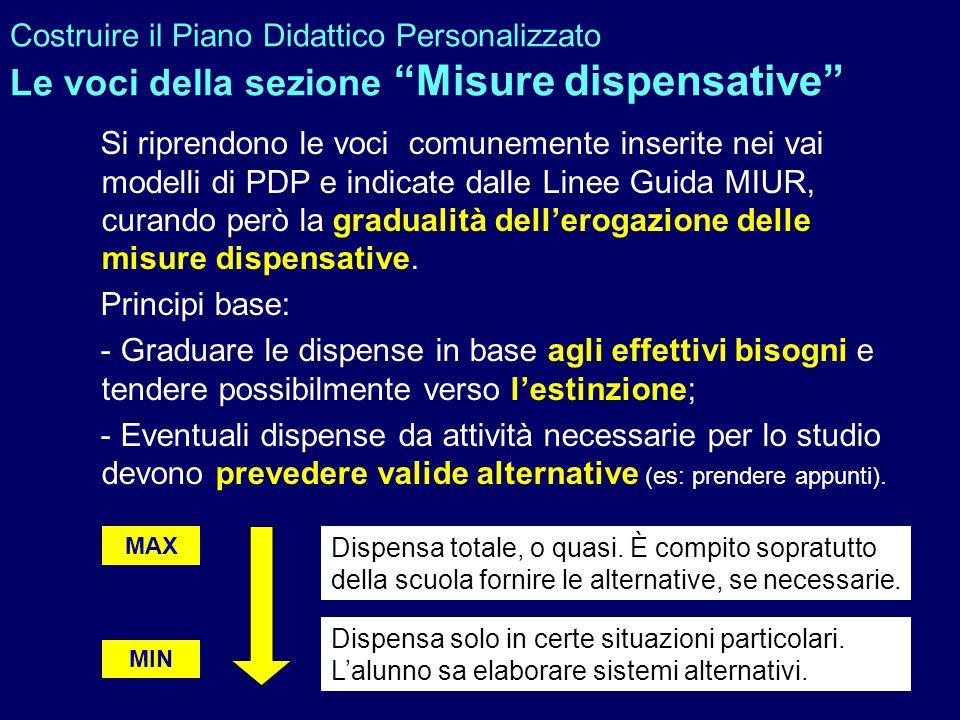 Costruire il Piano Didattico Personalizzato Le voci della sezione Misure dispensative Si riprendono le voci comunemente inserite nei vai modelli di PD