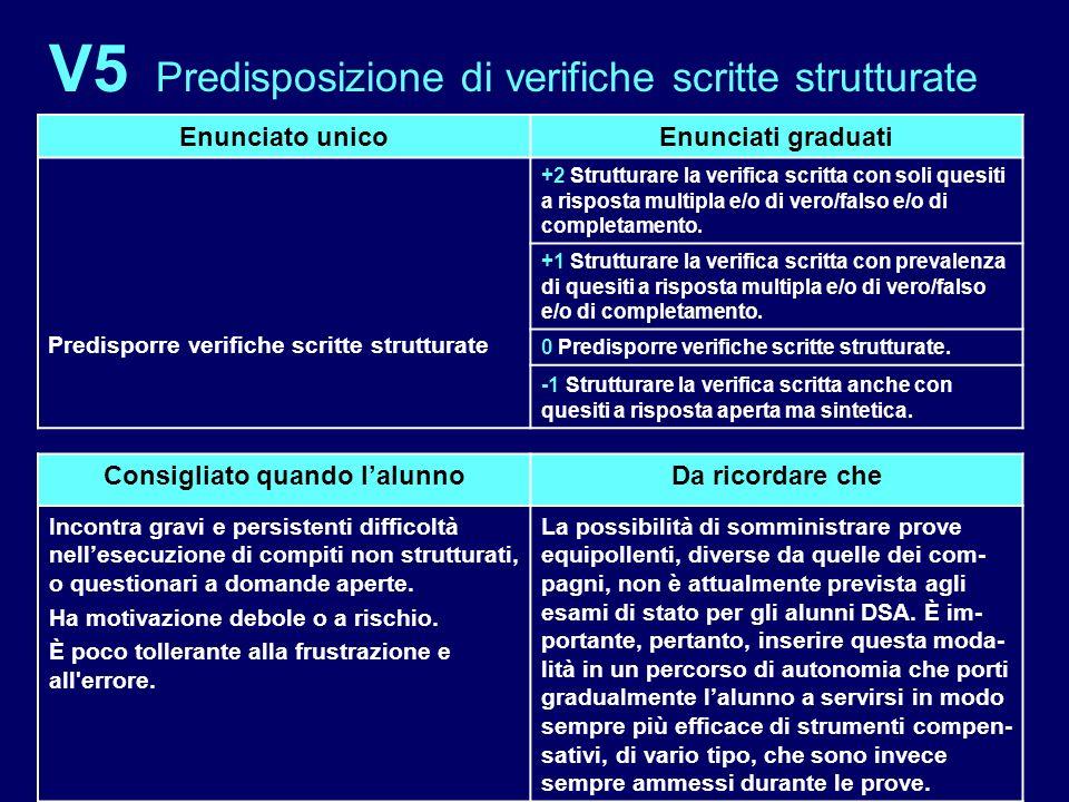 V5 Predisposizione di verifiche scritte strutturate Enunciato unicoEnunciati graduati Predisporre verifiche scritte strutturate +2 Strutturare la veri