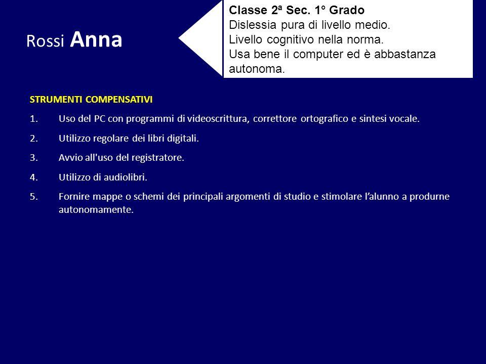 Rossi Anna Classe 2ª Sec. 1° Grado Dislessia pura di livello medio. Livello cognitivo nella norma. Usa bene il computer ed è abbastanza autonoma. STRU