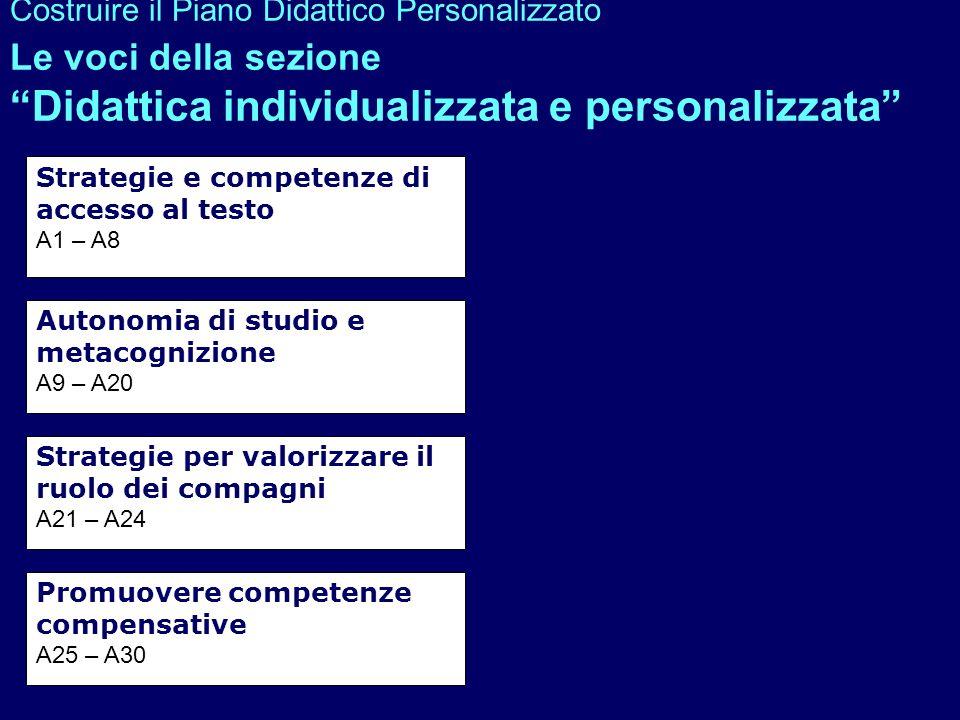 Costruire il Piano Didattico Personalizzato Le voci della sezione Didattica individualizzata e personalizzata Strategie e competenze di accesso al tes