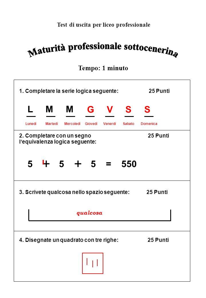 1. Completare la serie logica seguente: 25 Punti 2. Completare con un segno 25 Punti lequivalenza logica seguente: 3. Scrivete qualcosa nello spazio s