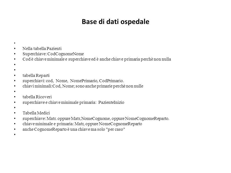 Base di dati ospedale Nella tabella Pazienti Superchiave: CodCognomeNome Cod è chiave minimale e superchiave ed è anche chiave primaria perchè non nulla tabella Reparti superchiavi: cod, Nome, NomePrimario, CodPrimario.