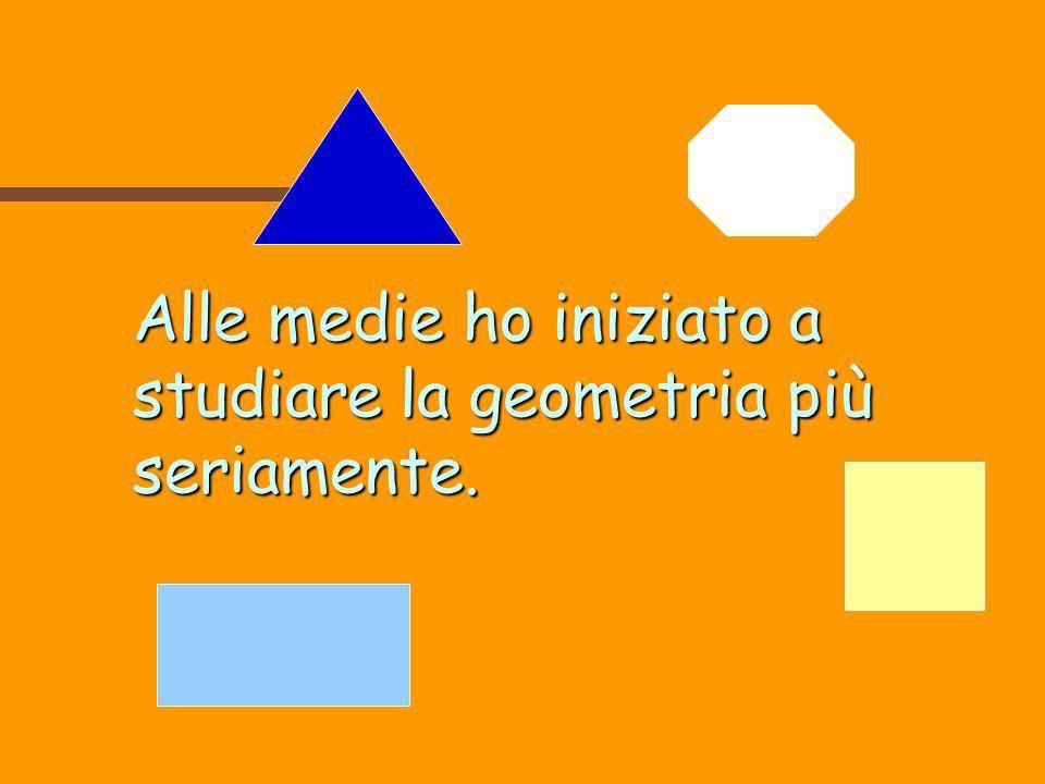 Alle medie ho iniziato a studiare la geometria più seriamente.