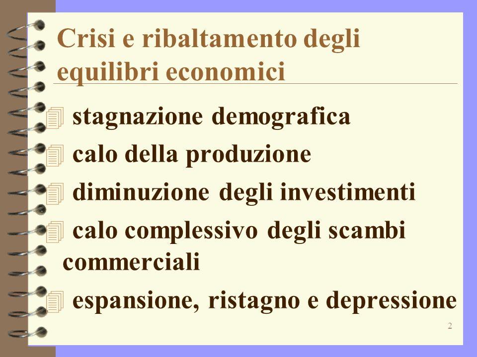 2 Crisi e ribaltamento degli equilibri economici 4 stagnazione demografica 4 calo della produzione 4 diminuzione degli investimenti 4 calo complessivo degli scambi commerciali 4 espansione, ristagno e depressione