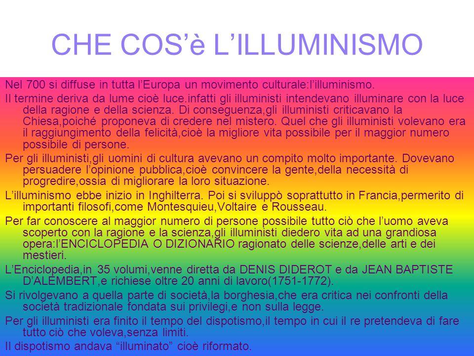 CHE COSè LILLUMINISMO Nel 700 si diffuse in tutta lEuropa un movimento culturale:lilluminismo. Il termine deriva da lume cioè luce.infatti gli illumin