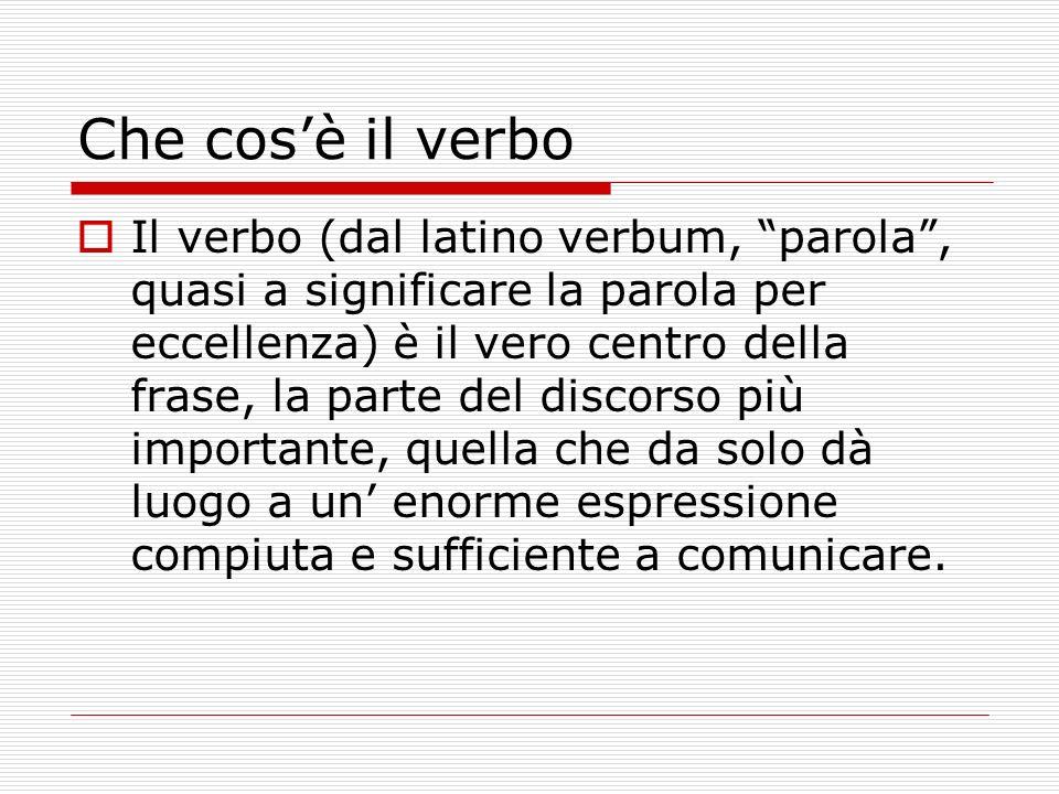 Che cosè il verbo Il verbo (dal latino verbum, parola, quasi a significare la parola per eccellenza) è il vero centro della frase, la parte del discor
