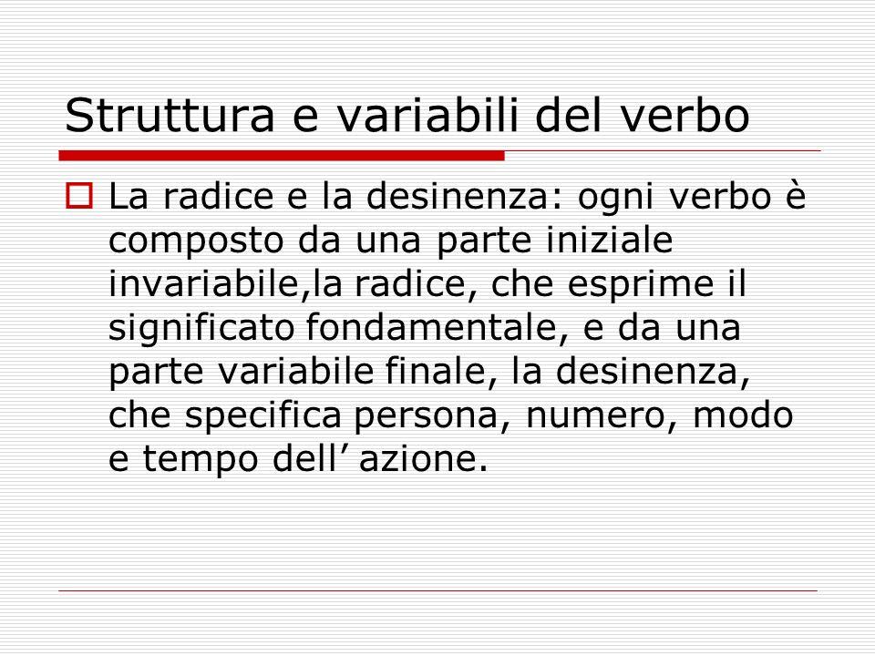 Struttura e variabili del verbo La radice e la desinenza: ogni verbo è composto da una parte iniziale invariabile,la radice, che esprime il significat