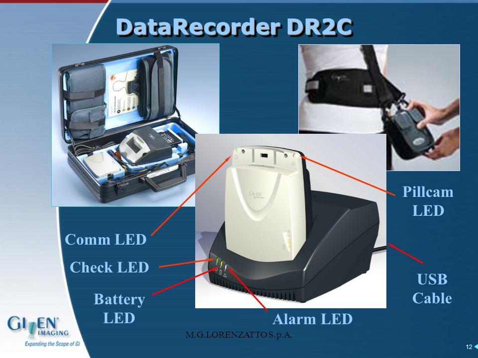 M.G.LORENZATTO S.p.A. 12 DataRecorder DR2C USB Cable Alarm LED Battery LED Comm LED Pillcam LED Check LED