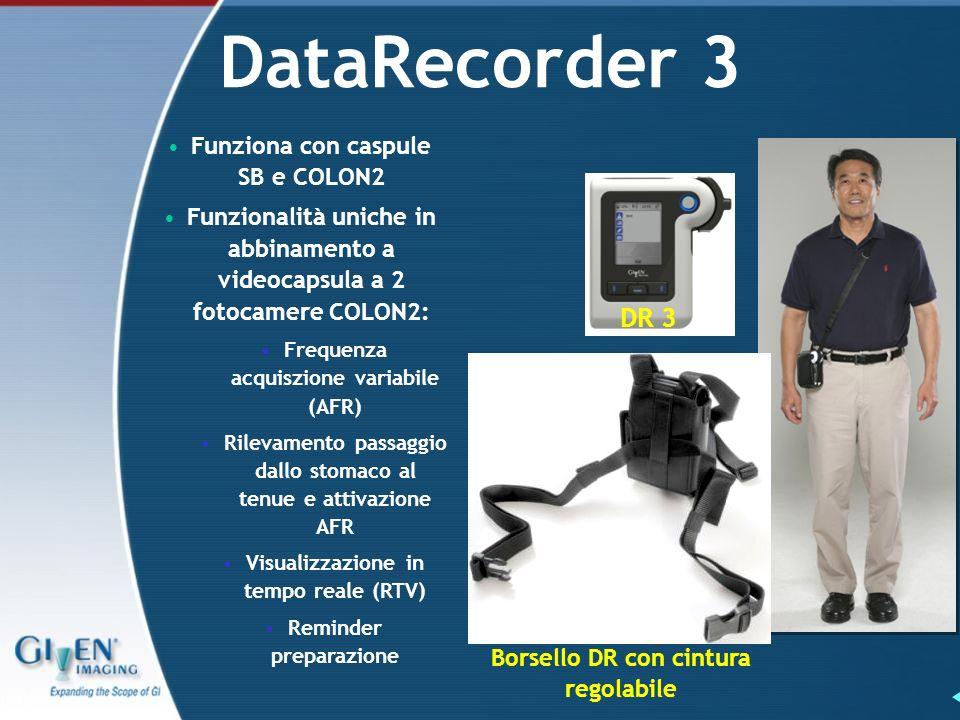 DataRecorder 3 DR 3 Borsello DR con cintura regolabile Funziona con caspule SB e COLON2 Funzionalità uniche in abbinamento a videocapsula a 2 fotocame