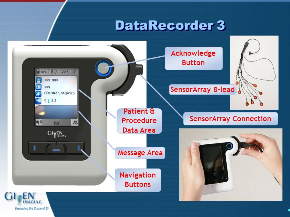 DataRecorder 3 SensorArray Connection SensorArray 8-lead Message Area Navigation Buttons Acknowledge Button Patient & Procedure Data Area