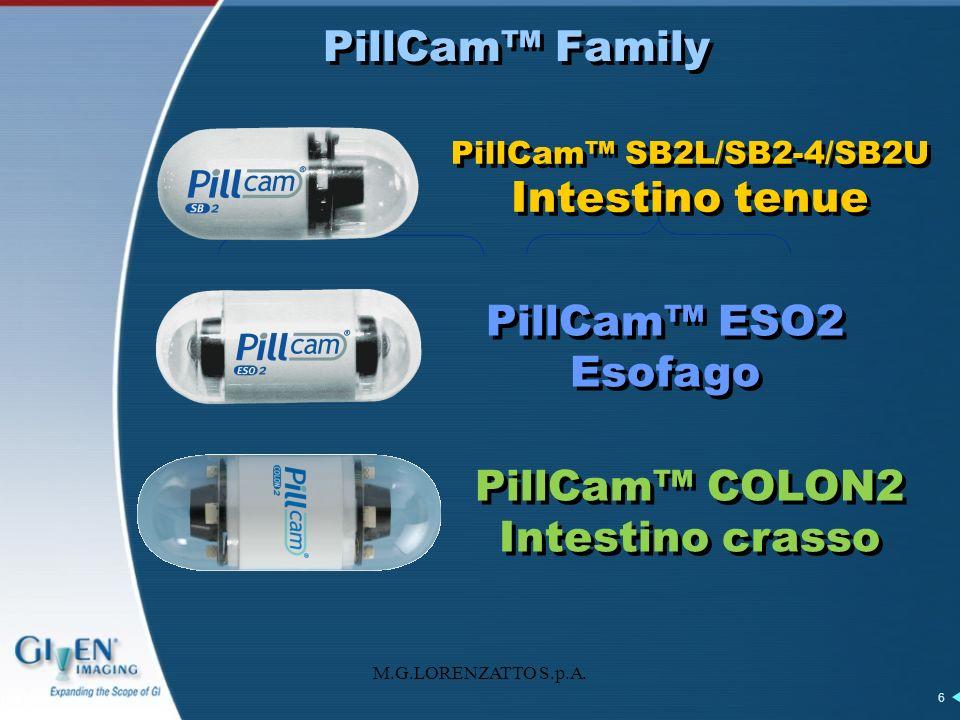 M.G.LORENZATTO S.p.A. 6 PillCam Family PillCam SB2L/SB2-4/SB2U Intestino tenue PillCam ESO2 Esofago PillCam COLON2 Intestino crasso