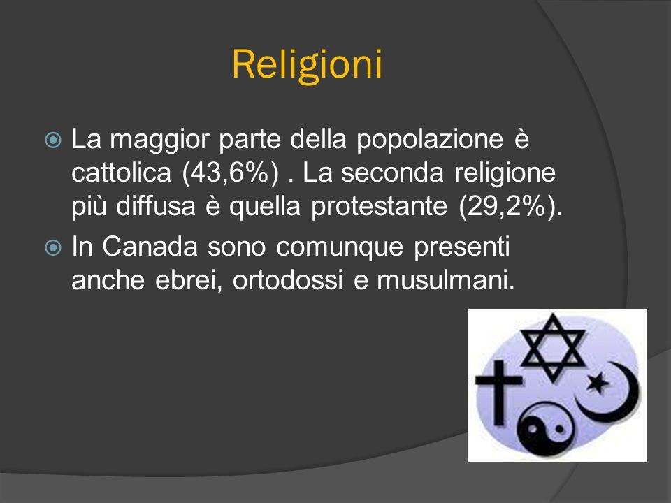Religioni La maggior parte della popolazione è cattolica (43,6%). La seconda religione più diffusa è quella protestante (29,2%). In Canada sono comunq