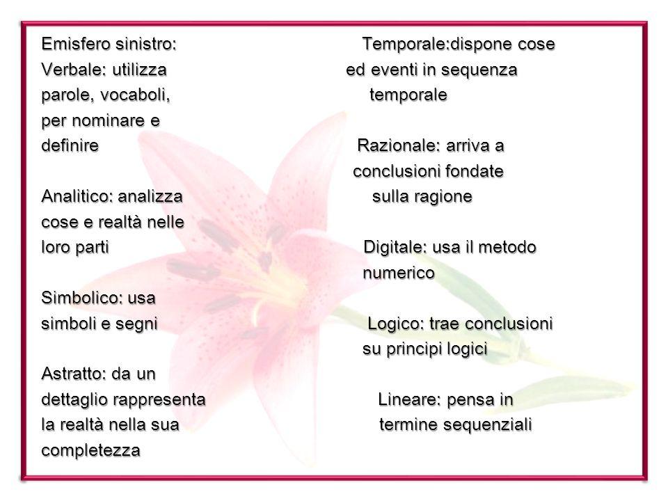 Emisfero sinistro: Temporale:dispone cose Verbale: utilizza ed eventi in sequenza parole, vocaboli, temporale per nominare e definire Razionale: arriv