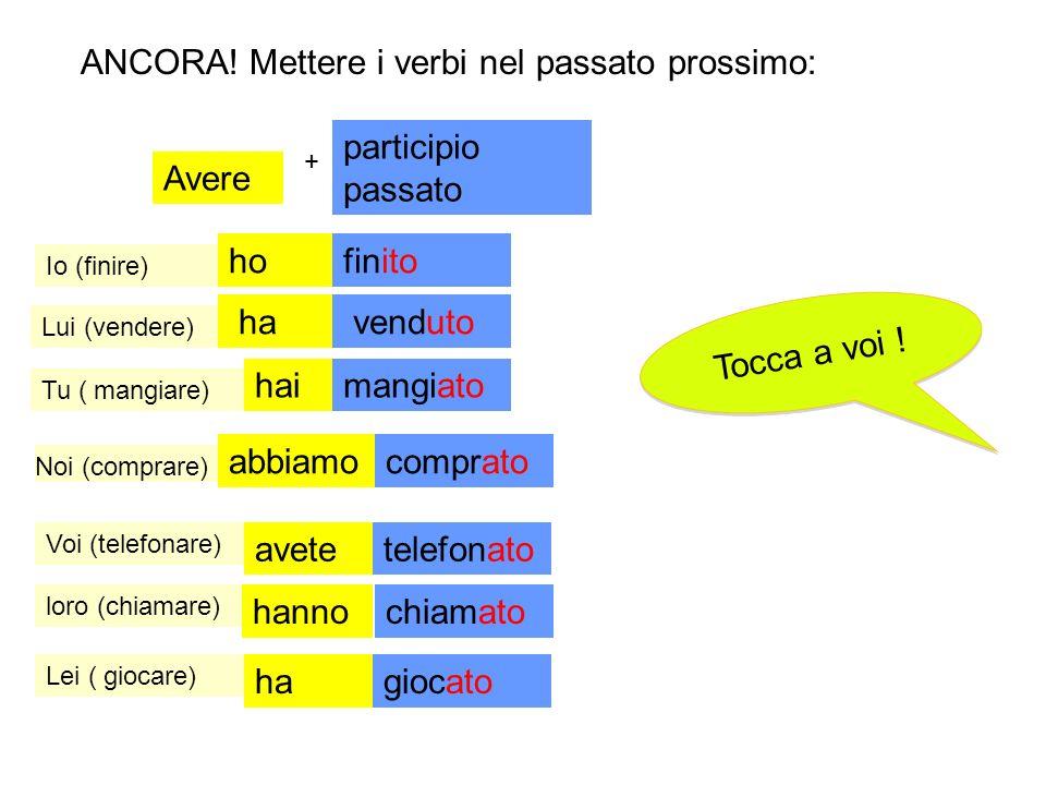 Mettere i verbi nel passato prossimo: + Tu ( mangiare) Avere participio passato Tocca a voi ! T o c c a a v o i ! Noi (finire) Voi (parlare) loro (pre