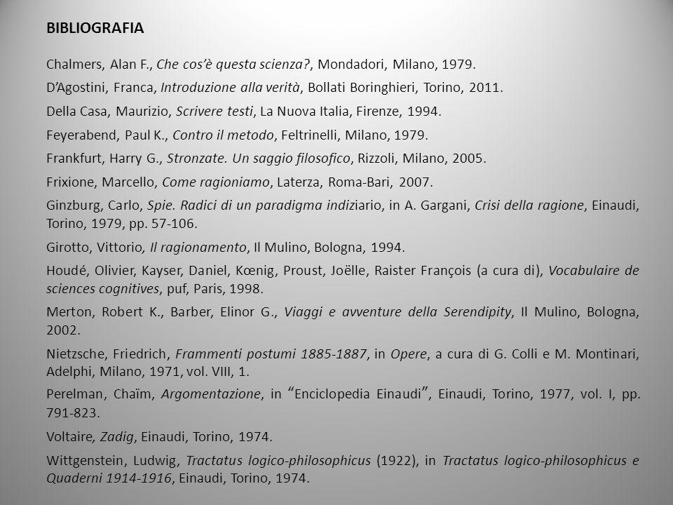 BIBLIOGRAFIA Chalmers, Alan F., Che cosè questa scienza?, Mondadori, Milano, 1979. DAgostini, Franca, Introduzione alla verità, Bollati Boringhieri, T