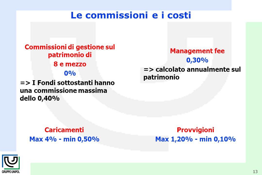 13 Management fee 0,30% => calcolato annualmente sul patrimonio Commissioni di gestione sul patrimonio di 8 e mezzo 0% => I Fondi sottostanti hanno una commissione massima dello 0,40% Le commissioni e i costi Caricamenti Max 4% - min 0,50% Provvigioni Max 1,20% - min 0,10%