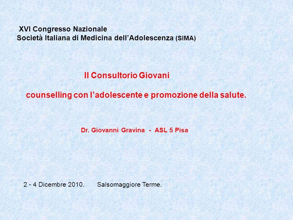 Consultorio Giovani ASL 5 Pisa Convegno SIMA 2010 ASL 5 Pisa Utenza ( media 2007 – 2009 ) - 976 prestazioni / anno (28% prime visite); gruppi: 1525 accessi - 84% utenti donne (52 % 18 – 21 aa.