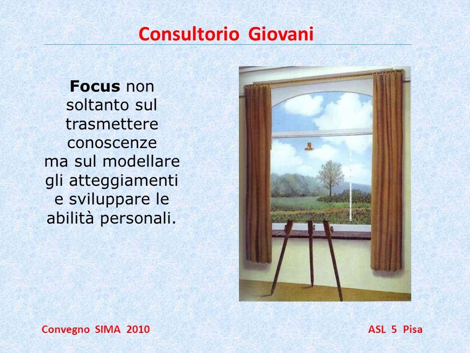 Consultorio Giovani Convegno SIMA 2010 ASL 5 Pisa Focus non soltanto sul trasmettere conoscenze ma sul modellare gli atteggiamenti e sviluppare le abi