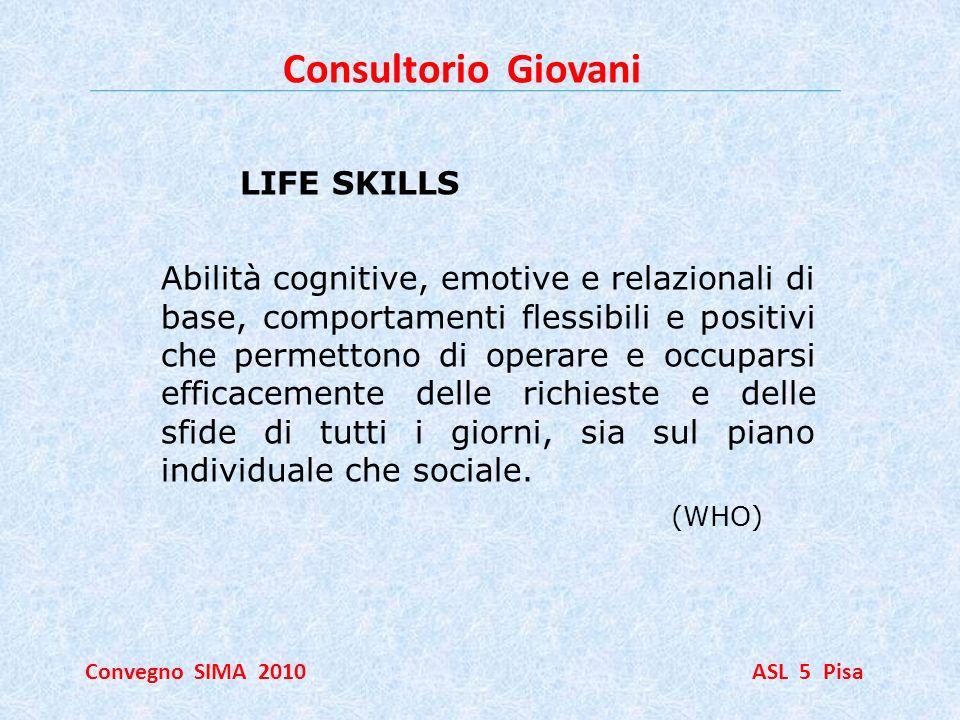 Consultorio Giovani Convegno SIMA 2010 ASL 5 Pisa LIFE SKILLS Abilità cognitive, emotive e relazionali di base, comportamenti flessibili e positivi ch