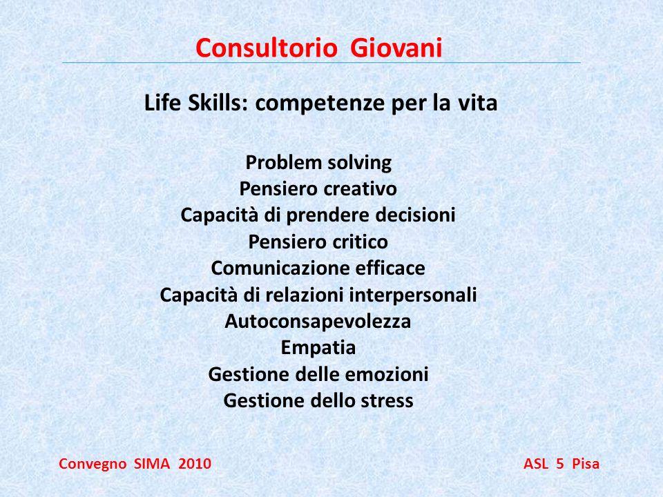 Consultorio Giovani Convegno SIMA 2010 ASL 5 Pisa Life Skills: competenze per la vita Problem solving Pensiero creativo Capacità di prendere decisioni